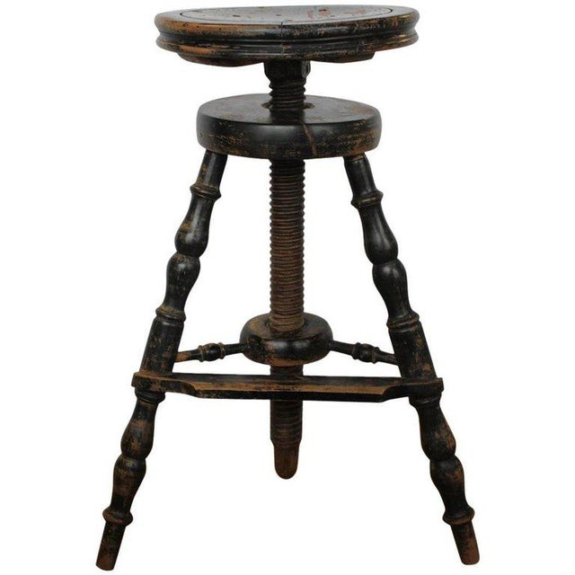 French 1900s French Artist's Adjustable Wood Stool For Sale - Image 3 of 3
