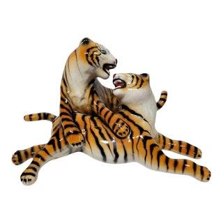 Mid-Century Italian Ceramic Tigers Figurine For Sale