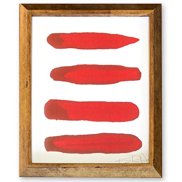 Abstract Manifesto in Red Contemporary Framed Painting For Sale - Image 3 of 3