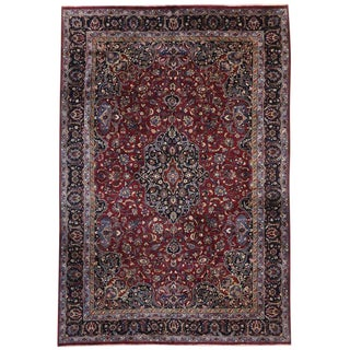 "Vintage Persian Mashhad Luxe Style Wool Rug - 10' X 14'10"" For Sale"