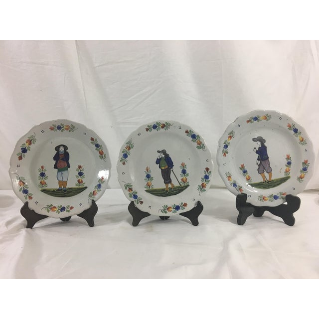 Quimper Plates With Men- Set of 3 For Sale - Image 11 of 11