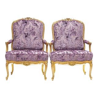 19th C. French Giltwood Armchairs For Sale