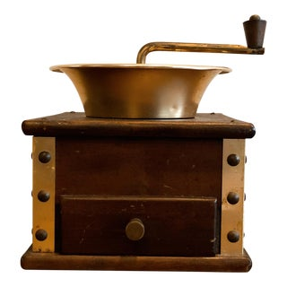 Wood and Brass Coffee Mill For Sale