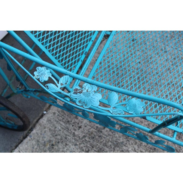 "A six piece set, made from wrought iron and painted blue. (4) Chairs: 31"" tall, 22"" width, 16"" depth (1) Table: 48""..."