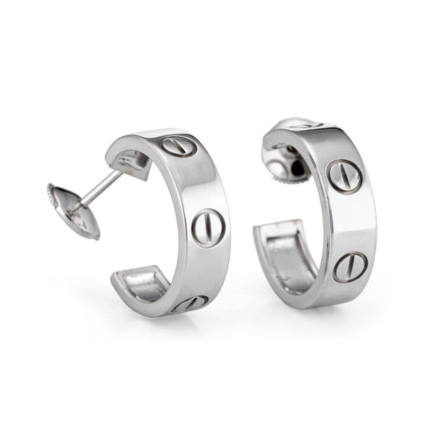 Cartier Cartier Love Earrings 18 Karat White Gold Circa 1997 Estate Fine Jewelry Signed For Sale - Image 4 of 5