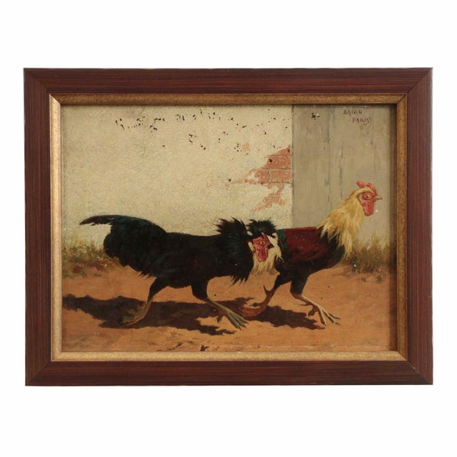 Impressionism Set of Four William Baird Barbizon Paintings of Cocks Fighting For Sale - Image 3 of 10