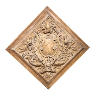 19th Century French Dolphins, Leaves and Centre Crest Carved Square Panel For Sale