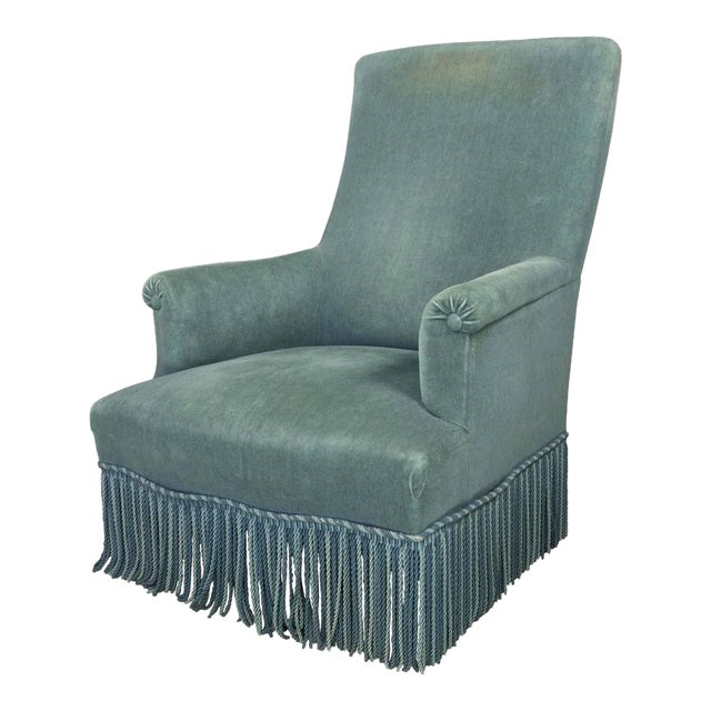 19th Century French Faded Blue Velvet Armchair - Image 1 of 11