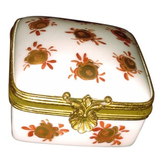 1960s Vintage Limoges Porcelain Box For Sale