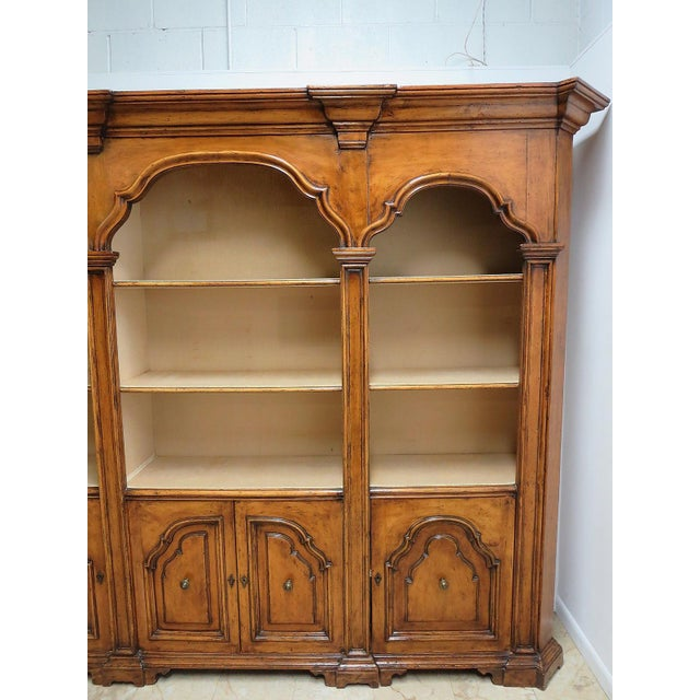 2000s Vintage Italian Monumental 3 Piece Custom Bookcase China Cabinet Hutch For Sale - Image 5 of 10