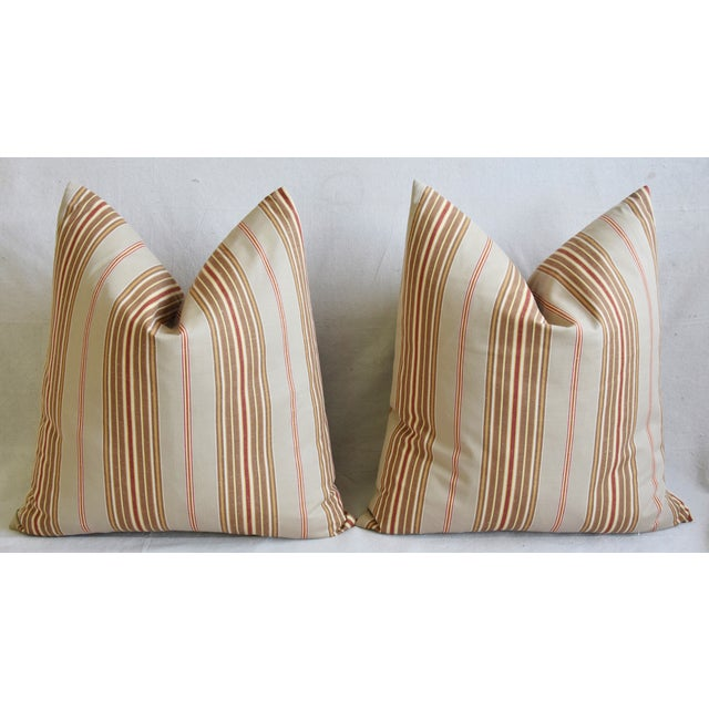 "French Striped Ticking Feather/Down Pillows 23"" Square - Pair For Sale In Los Angeles - Image 6 of 12"