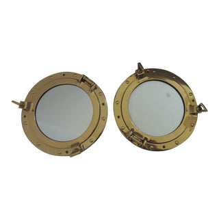Vintage Mid Century Nautical Mirrors- A Pair For Sale