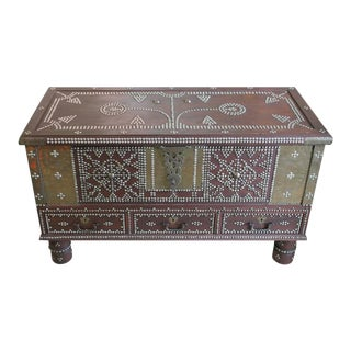 Zanzibar Arab Wooden and Brass Studded Coffee Cocktail Table Trunk or Chest For Sale