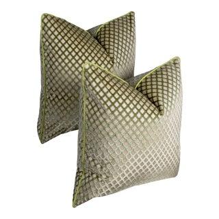 Pair of Custom Green Velvet Trellis Pattern Pillows For Sale