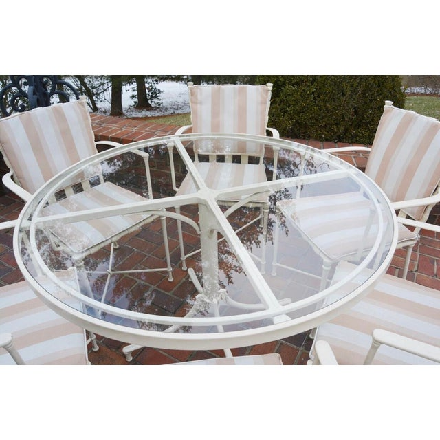 Hollywood Regency Vintage Brown Jordan Outdoor Cast Metal Patio Table and Chairs For Sale - Image 3 of 13