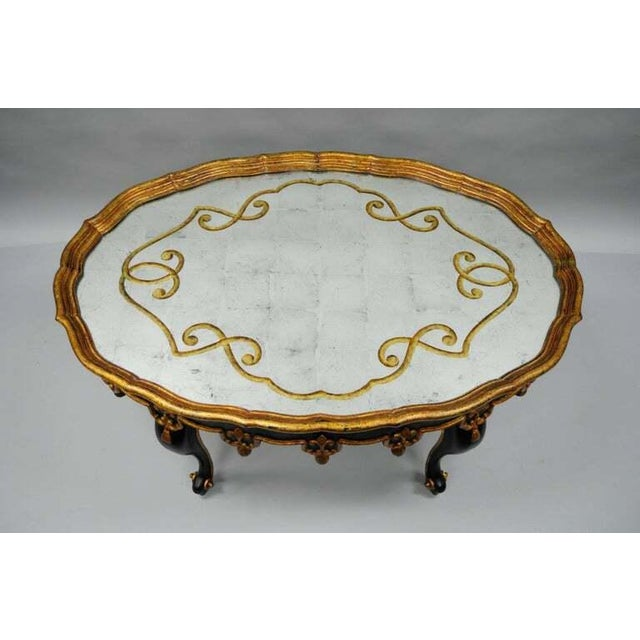 French Louis XVI Black & Gold Tassel and Églomisé Mirror Top Coffee Table For Sale - Image 3 of 11