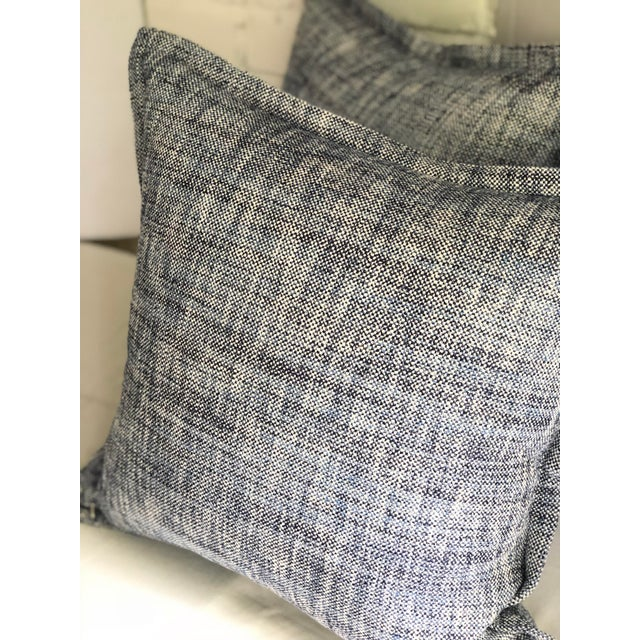 """Cotton Pair of 20"""" Cotton Tweed Pillows in Indigo Blue by Jim Thompson For Sale - Image 7 of 10"""