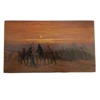 Superb Oil on Wood Orientalist Painting Bedouin Caravan in the Desert For Sale