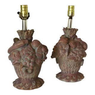 1960s Fiberstone Fruitbasket Lamps - a Pair For Sale