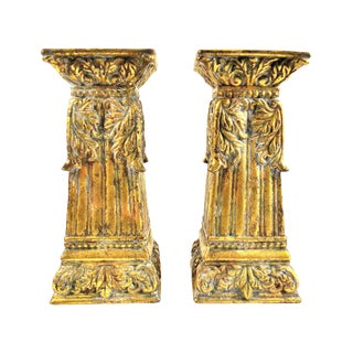 Vintage Rustic Brass Finish Pillar Candle Holders – a Pair