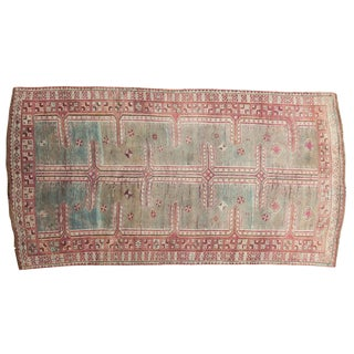 "Vintage Distressed Oushak Rug Runner - 4'3"" X 7'9"" For Sale"