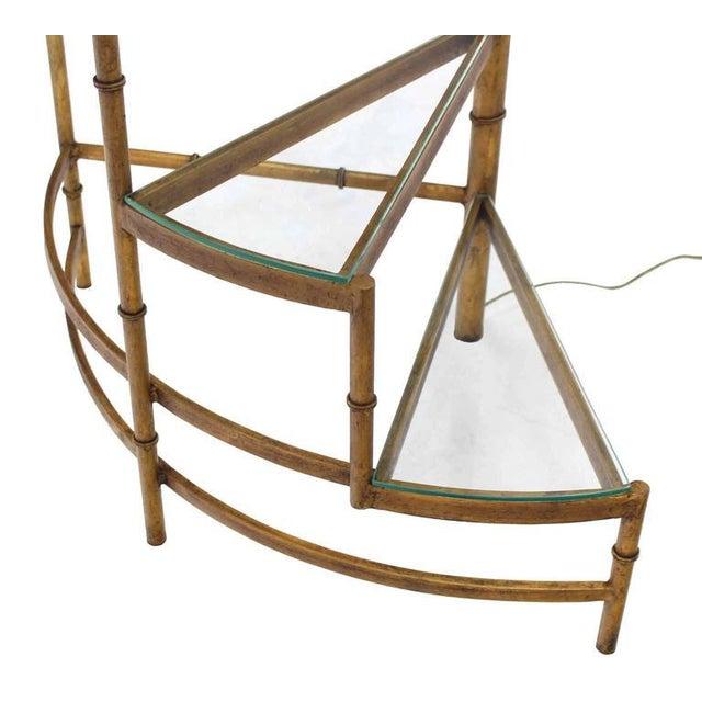 Wood Mid-Century Modern Step Shelves Faux Bamboo Gilt Base Floor Lamp For Sale - Image 7 of 10
