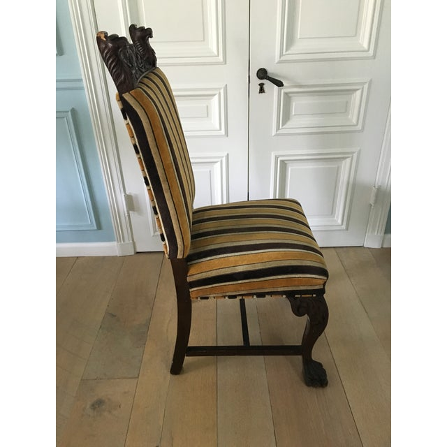 Antique French Stripe Side Chairs - Set of 6 - Image 4 of 8