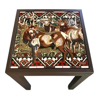Art Deco Ceramic Wildlife Side Table With Elk Illustration For Sale