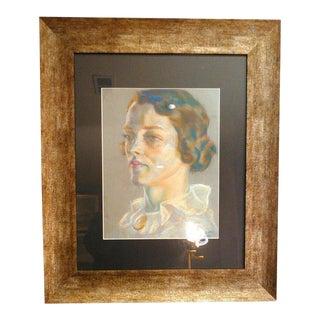 1936 Vintage Original Art Deco Pastel Portrait of Female Painting For Sale