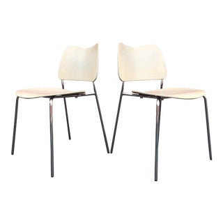 21st Century Scandinavian Modern Lammhults Birch & Chrome Campus Chairs - a Pair For Sale