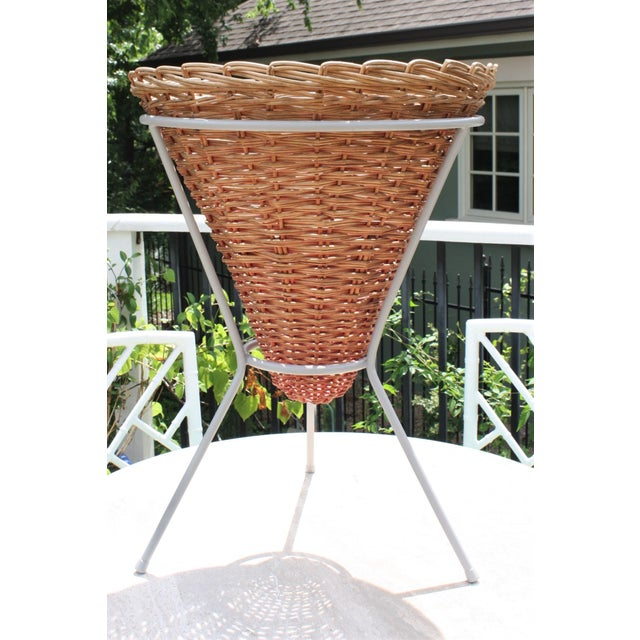 Mid-Century Wicker Basket Planter on Metal Tripod Stand / Wicker and Metal Dining Table Base For Sale - Image 13 of 13