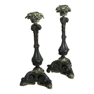 19th Century Napoleon III Period Bronze Candlestick Holders- A Pair For Sale
