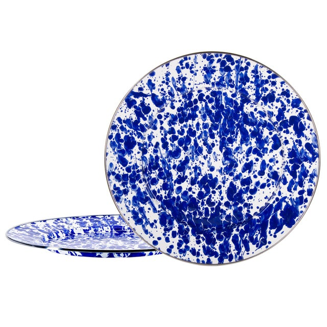 Modern Charger Plates Cobalt Swirl - Set of 2 For Sale - Image 3 of 3