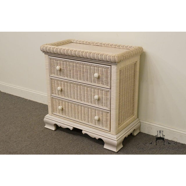 Rustic 20th Century Country Pennsylvania House White Wicker Nightstand For Sale - Image 3 of 13