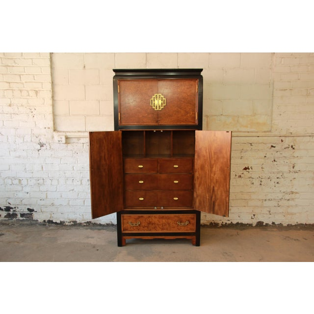 Century Furniture Black Lacquer & Burlwood Armoire - Image 5 of 11