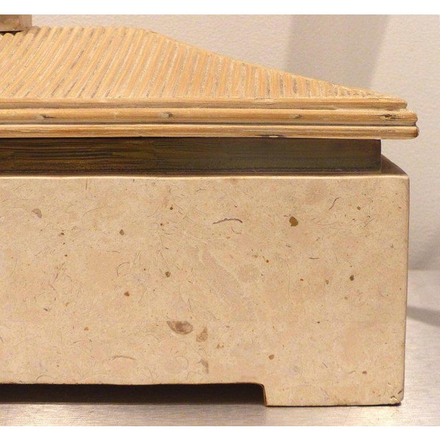 Over-Scale Maitland-Smith Box With Fossilized Stone, Reed and Brass For Sale In Miami - Image 6 of 13