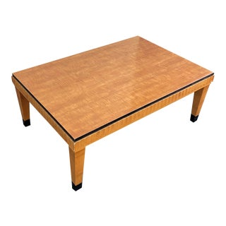 Vintage Art Deco Style Quilted-Maple Coffee Table For Sale