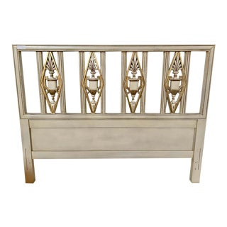 Hollywood Regency Headboard, Queen Size Bed, Gilt and Paint Decorated For Sale