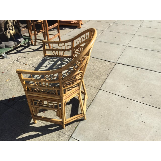 Bamboo 4 Chinese Chippendale Bamboo Chairs and Small Table For Sale - Image 7 of 8