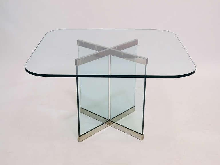 Glass U0026 Chrome Dining Table By Leon Rosen For Pace Collection   Image 3 Of  10
