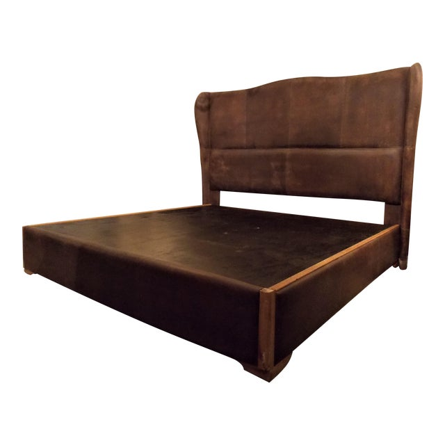 Dax King Size Leather Platform Bedframe by Taracea For Sale