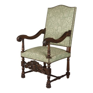 French Louis XIII Style Walnut Fauteuil Side Chair For Sale