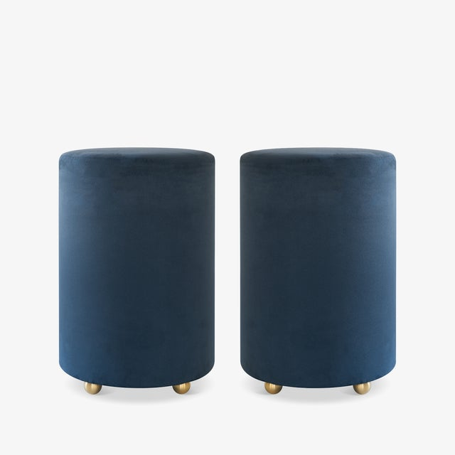 Artifact Accent Ottomans in Navy Premium Faux Suede by Object Refinery- Pair For Sale In New York - Image 6 of 6