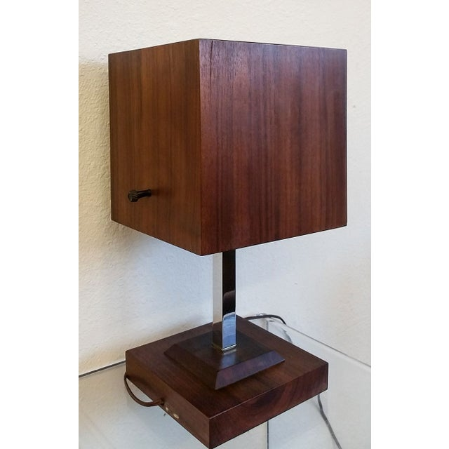Mid Century Nelson Style Walnut Table Clock For Sale - Image 4 of 7