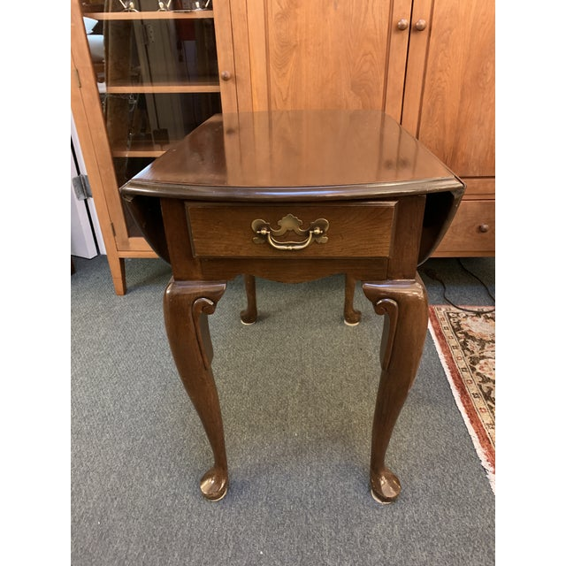 Queen Anne Queen Anne Style Dropleaf + Drawer Side Table For Sale - Image 3 of 11