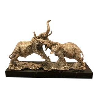 Art Deco Elephant Sculpture on Black Marble For Sale