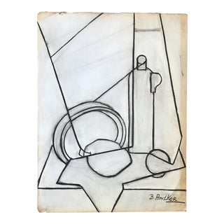 1930s Charcoal Cubist Still Life Betsy Andker