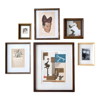 Contemporary Modernist Abstract Figurative Salon Style Gallery Wall by Poul Lange, Framed - Set of 6 For Sale