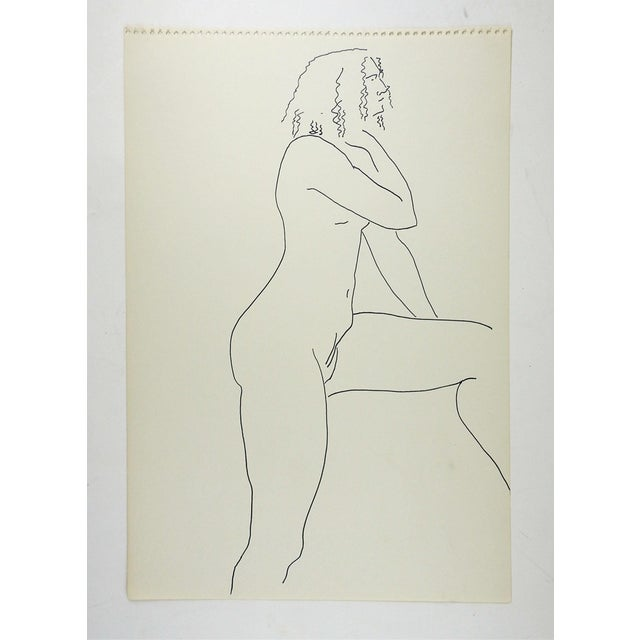 Pen and ink drawing on paper of female nude study by Marilyn Lanfear (1930-2020) Texas. Unsigned. Unframed, directly from...