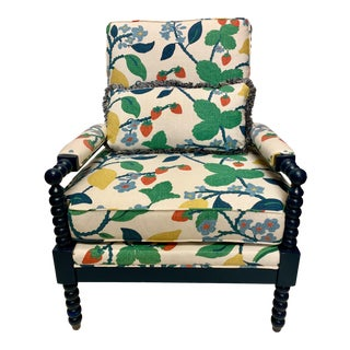 Upholstered Navy Lacquered Spool Club Chair For Sale